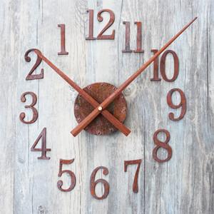 Toptan-Yeni yaratıcı moda Pointer DIY Vintage eski paslanmış metal doku Duvar saati saat despertador dijital saat mekanizması ters