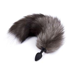 Plug anale di alta qualità coda sesso lungo cane coda di gatto 45 centimetri Butt Plugs nero pelliccia bianca flirtare giocattoli anale di silicone 2.8 cm diametro giocattoli del sesso per le donne