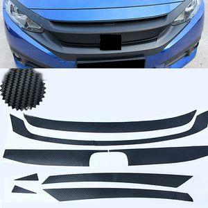 For Honda Civic 2016-2021 Car Front Bumper Decorative Upper Grille Grid Network Stickers Carbon fiber Colour