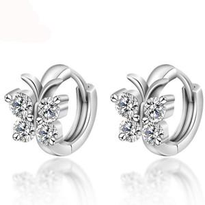 Moda 925 Sterling Silver Luxury Crystal Stud Earrings Diseño de la mariposa Pendiente Para Las Mujeres Chica Regalo de La Joyería Del Oído