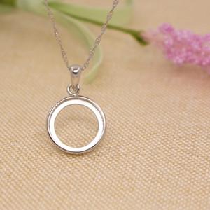 925 Sterling Silver 15X15MM Round Cabochon Semi Mount colgante nupcial de la joyería de plata fina colgante de ajuste