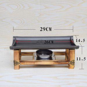 기 쉬운 그릴 판 팬 Teppanyaki 트레이 끈적임없이 꼬치 알루미늄 테이블 마찰 접시 나무를 독자 뷔페 히터 음식 온열 장치