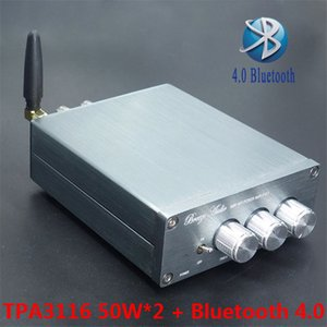 Freeshipping Mais Novo BL10A TPA3116 Bluetooth 4.0 Hifi Amplificador De Potência de Áudio Digital 50 W + 50 W 24 V Terminado Amplificador AMP Home Sliver