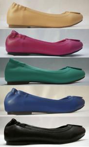 جديد حار المرأة الاحذية جلد طبيعي جلد الخراف المعادن الباليه حذاء مسطح عارضة