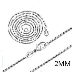 Серебряная коробка Chians горячие Продажа 2 мм звено цепи Ожерелье для женщин девушка подвески ювелирные изделия Оптовая Бесплатная доставка 0356WH