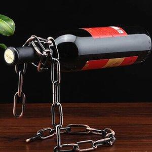 Cadeia criativa Cremalheira Do Vinho Anel Mágico Suspenso Suporte Livre Titular do Vinho de Corrente de Metal Artesanato Home Decor Em Estoque WX-C49