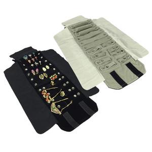 Bijoux Roll Bag Pour Anneau Boucles D'oreilles Organisateur De Bijoux Sacs De Rangement Portable Pendentif Présentoirs En Verre Noir / Gris Velours 15 * 10cm