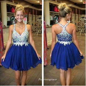 Royal Blue Short Beaded Crystals Homecoming Dresses A Line Chiffon Spaghetti Straps Women Wear Prom Party Dress Plus Size