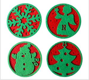 Artículos de fiesta Mat Feliz Navidad 10pcs / lot Snowflakes coffte Cup Mat Decoraciones navideñas Cena Fiesta Plato Bandeja Pad para decoración del hogar