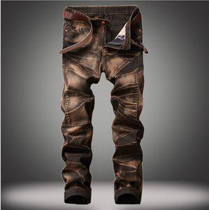 Erkekler Vintage Düz Jeans Moda Trendy Işık Yıkama Uzun Pantolon İlkbahar Sonbahar Kış Giyim Pantolon