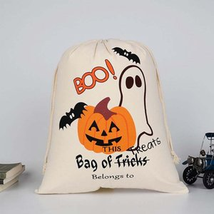Halloween candy bag gift sacks Large Canvas bags cotton Drawstring bag Pumpkin devil spider printing Hallowmas Gifts Sack Bags