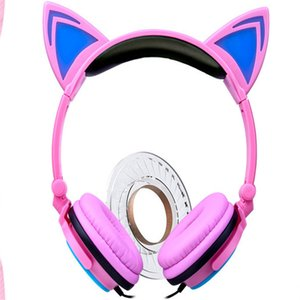 2017 new fashion comfortable stereophonic colorful children's cartoon cat ears head wear luminous earphone foldable mobile phone headset