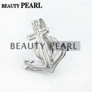 Masse von 3 Stück Anchor Pearl Cage Anhänger Montage Wunschperle Geschenk 925 Sterling Silber Medaillons