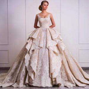 2018 새로운 디자인 볼 가운 웨딩 드레스 Overskirts 레이스 Appliques 스파클 가든 신부 가운 두바이 Vestidos 드 Mariage 맞춤 제작