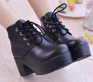 2017 new Fashion ladies shoes Locomotive platform shoes short boots Women Chunky Heel Ankle Knight Boots