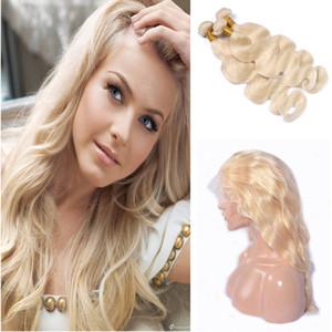 Блондинка #613 объемная волна волосы пучки с 360 кружева группа фронтальная закрытие бразильские девственные волосы пучки с уха до уха 360 фронтальная