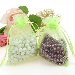Borse Gioielli MIXED Organza Jewelry Wedding Party Xmas Gift Bags Viola Blu Rosa Giallo Nero 7 * 9cm