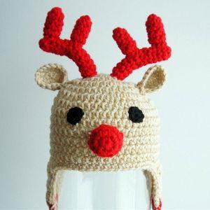 Fatto a mano all'uncinetto Rudolph Red Moose Hat, Baby Boy Girl Christmas Reindeer Hat, neonato Animal Cap, neonato bambino Photo Prop