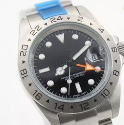 Novas chegadas de Luxo Mens Watch EXP pulso 16570 Sports Men mostrador preto relógio de aço Homens Automatic Relógios Mecânicos inoxidável fecho dobrável