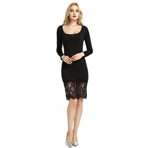Western New Stylizing Dress Mode col rond robe une pièce avec Splicing dentelle à manches longues pour les femmes