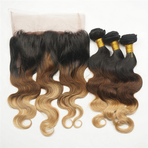 # 1B / 4/27 Banda de encaje 360 paquetes pelo de la onda frontal con cuerpo humano de la Virgen Honey Blonde trama del pelo con el cordón frontal 360
