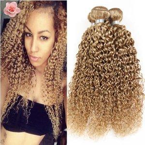 Honig Blonde # 27 verworrenes lockiges Haar Bundles reine Farbe brasilianische 9A reine Haarverlängerung 3 Stücke blonde tiefe lockige Haare spinnt freies Verschiffen