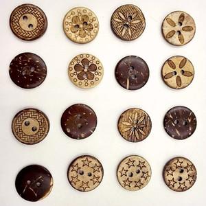 Madeira Botões 18mm coco 2 furos para artesanal Gift Box Scrapbook Artesanato Partido Decoração DIY favorecem costura Acessórios