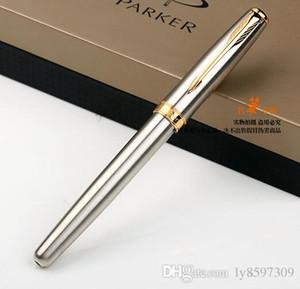 Rollerball القلم الفضة الذهبي كليب الأقلام عالية الجودة مكتب الكتابة القرطاسية اللوازم شحن مجاني الترويج الأسطوانة الكرة القلم