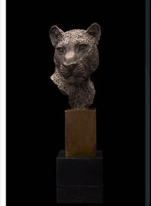 COLECCIÓN Art Deco Escultura Animal Leopard Head Panther Bronce Estatua OLD Brass Crafted Human Vintage Hecho a mano Exquisito