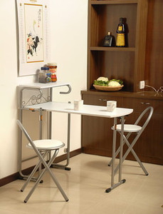 Japanese Style free-installation doulbe Eat desk and chair, density board folding table folded seat 1 table+ 2 chairs dining room furniture