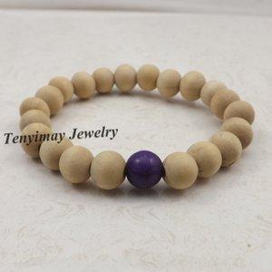 20 шт. / лот 10 мм оригинальные деревянные браслеты из бисера эластичный с темно-фиолетовый бирюзовый шарик для женщин ювелирные изделия