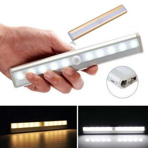 Sensor portátil 10 LED PIR Sensor inalámbrico de movimiento Armario de pared Armario de pared Luz nocturna con tira magnética Adhesivo en cualquier lugar Funciona con baterías
