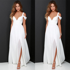 Simple Off The Shoulder Wedding Dresses Cheap 2018 Split Robe De Mariee A Line Chiffon Custom Made Bridal Gowns