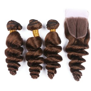 Perulu renk 4 # Gevşek Kıvırcık Üst Dantel Kapatma Ile 4x4 Saç Atkı Ile Koyu Kahverengi İnsan Saç Gevşek Dalga Saç Örgüleri Dantel