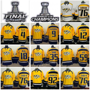 2017 Coupe Stanley Maillots Finale Championne du Hockey Hockey Predators de Nashville Predators 4 Ryan Ellis 9 Filip Forsberg 12 Mike Fisher James Neal Blanc Jaune