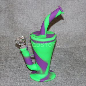 Portable Hookah Silicone Water Pipes for Smoking Dry Herb Unbreakable Water Percolator Bong Smoking Oil Beaker Water Pipe Silibongs