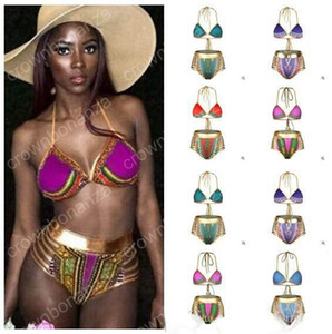 ملابس جنوب أفريقيا بيكيني أزياء المرأة الذهبي الرسن عالية الخصر ضمادة الجوف خارج ملابس بحر المرأة المايوه