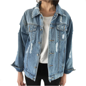 Großhandels-OLGITUM Frühlings-Frauen-grundlegende Mäntel weibliche Jeans-Mantel-Denim-Jacken-lange Hülsen-Weinlese-lose zufällige Oberteile LJ893E