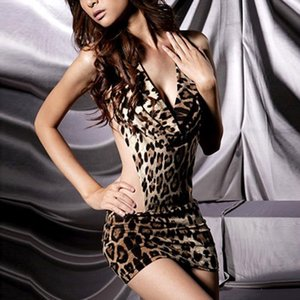 So Hot Leopard Disfraces Disfraces Mujeres One Piece Sex Dress Lingerie V Neck Halter Backless ropa de dormir