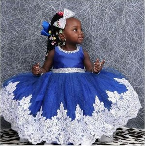 Bling Blue Jewel Neck Flower Girl Dresses Long with Sash Beads White Lace Kids Prom Dress Ball Communion Dresses