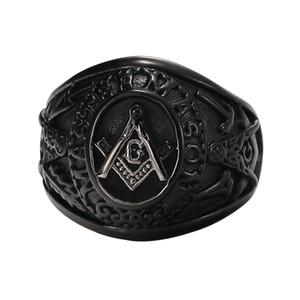 Gioielli Black Placcato Black Placcato Acciaio inox Masonic Anello vintage 3D GRANDE G MASON MASTER FREEMASON / MASTER MASON Vintage Signat Ring