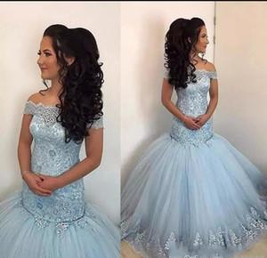 Новейшие 2020 Небо Blue Mermaid Play Платья с плеча Кружева Аппликации Бисером Пухлые Туль Сладкие 16 Длинные Платья Платья Плюс Размер Вечерние платья