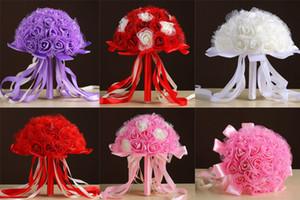 Оптовые новые свадебные букеты для начинающих Свадебные букеты Rhinestones Pink / Red / White / Purple Handmade Artificial Bridesmaid Bouquet Silk Ribbon