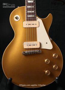 Özel Mağaza 1956 Altın Top Goldtop Elektro Gitar Özel Parçası Tailpiece Çift P90 Pikaplar Yamuk Beyaz MOP Klavye Inlay kez