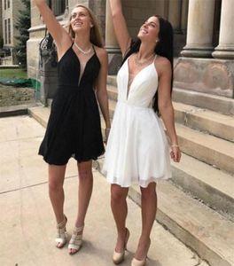 Yaz Plaj Bohemian Gelinlik Modelleri 2019 Derin V Boyun Kısa Boho Onur Törenlerinde Hizmetçi Ucuz Balo Homecoming Kokteyl Elbiseleri