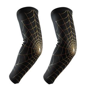 Mangas Braço De Compressão Spider Web Design Halterofilismo Elbow Mangas Braço Wraps para Beisebol, Basquete, Futebol, Ciclismo, 1 Par