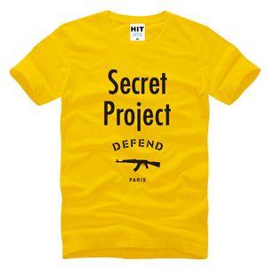 Secret Project DEFEND PARIS AK47 Hip Hop uomo T-Shirt da uomo 2017 moda manica corta in cotone Top Tee Camisetas Hombre