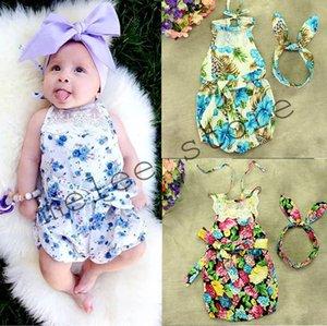 INS enfants d'été dentelle barboteuse bébés filles mignonnes Floral Rompers infantile garçons coton nouveau-nés Combinaisons sans bandeau 0-3ans 10style choisir