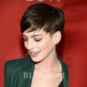 Высокое качество Человеческие короткие волосы Rihanna Chic Cut Triags Новый стиль Индийские ременные волосы 4 '' черный цвет волос машина сделана париками