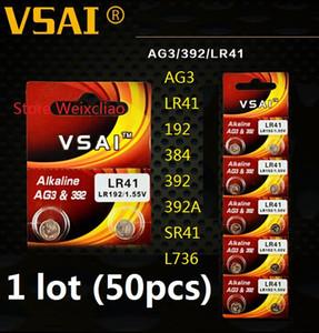 50 قطع 1 وحدة AG3 LR41 192 384 392 392A SR41 L736 1.55 فولت بطاريات زر خلية البطارية القلوية عملة vsai مجانية